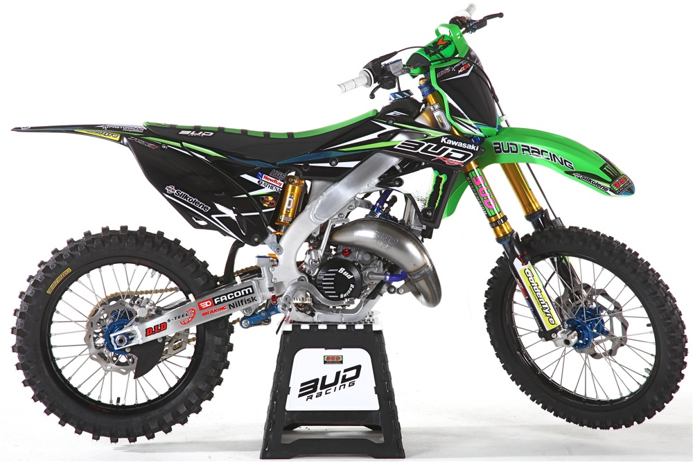 BUD RACING'S RADICAL ALUMINUM-FRAMED KX125 TWO-STROKE