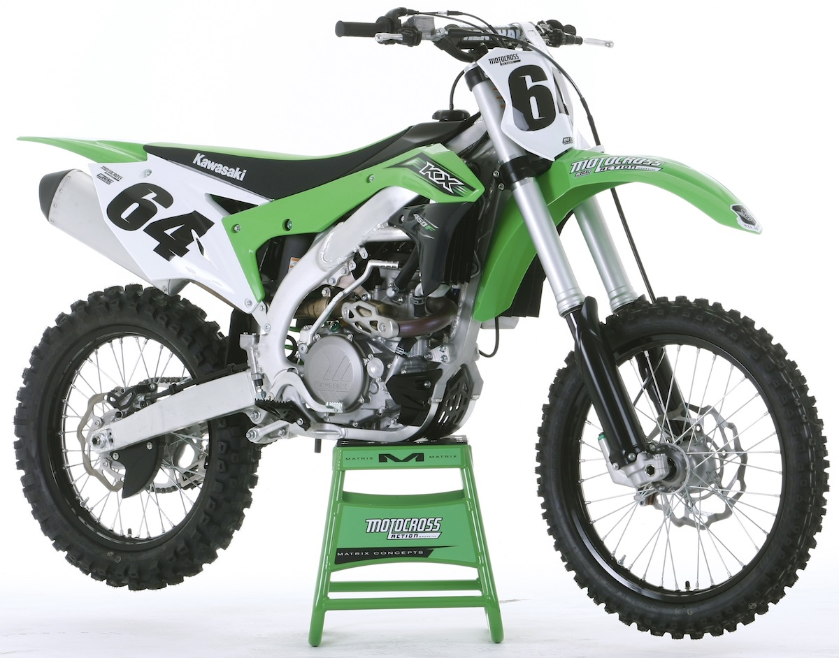 After years of bing big and bulky, the Kawasaki engineers put the KX450F on  a diet. The new downsized Kawasaki is a big improvemrnt in fit and feel.