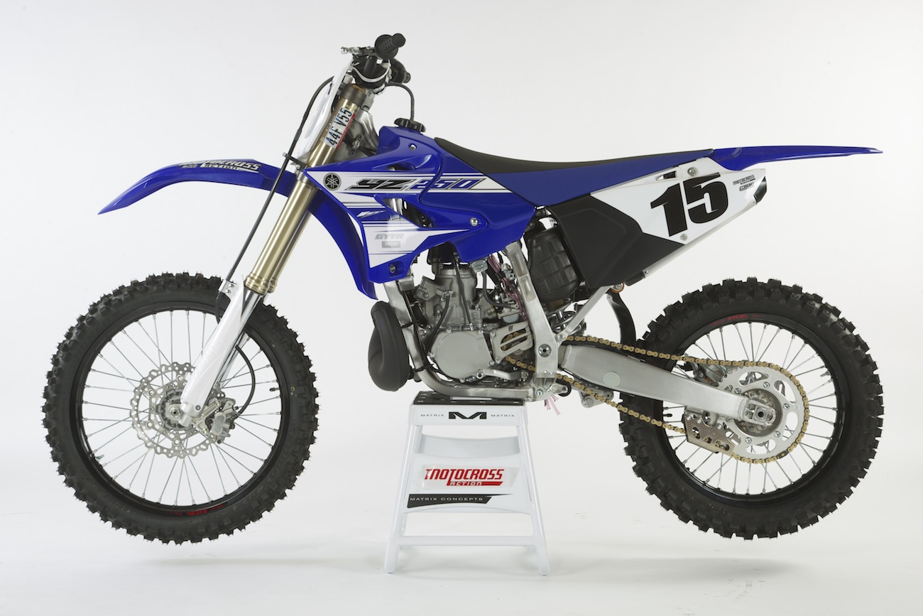 ... rear axle, shock linkage, brake carrier and rear hub on the YZ250  two-stroke have been stuck in a time warp. The YZ450F swingarm was updated  in 2009.