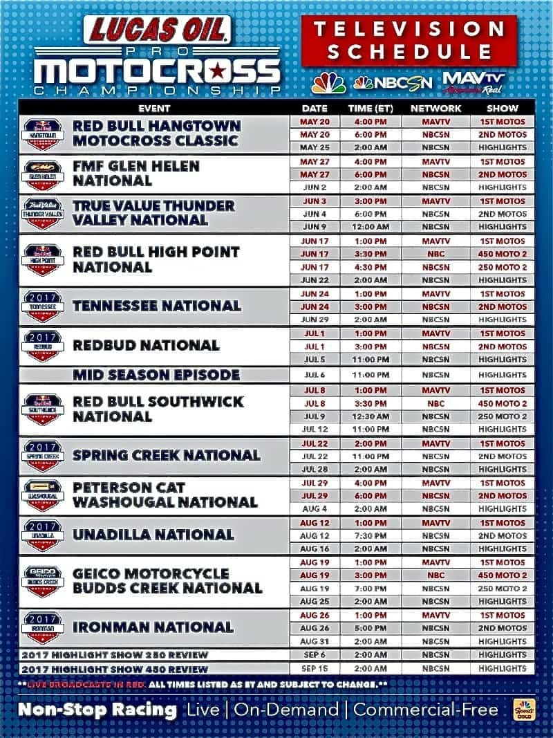 2017 ama 250/450 national motocross tv schedule | motocross action