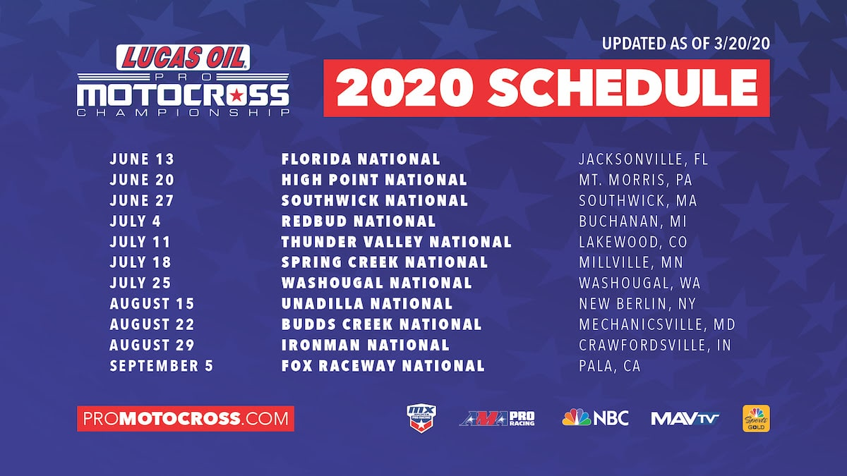 UPDATED 2020 AMA PRO MOTOCROSS SEASON SCHEDULE: FOX RACEWAY