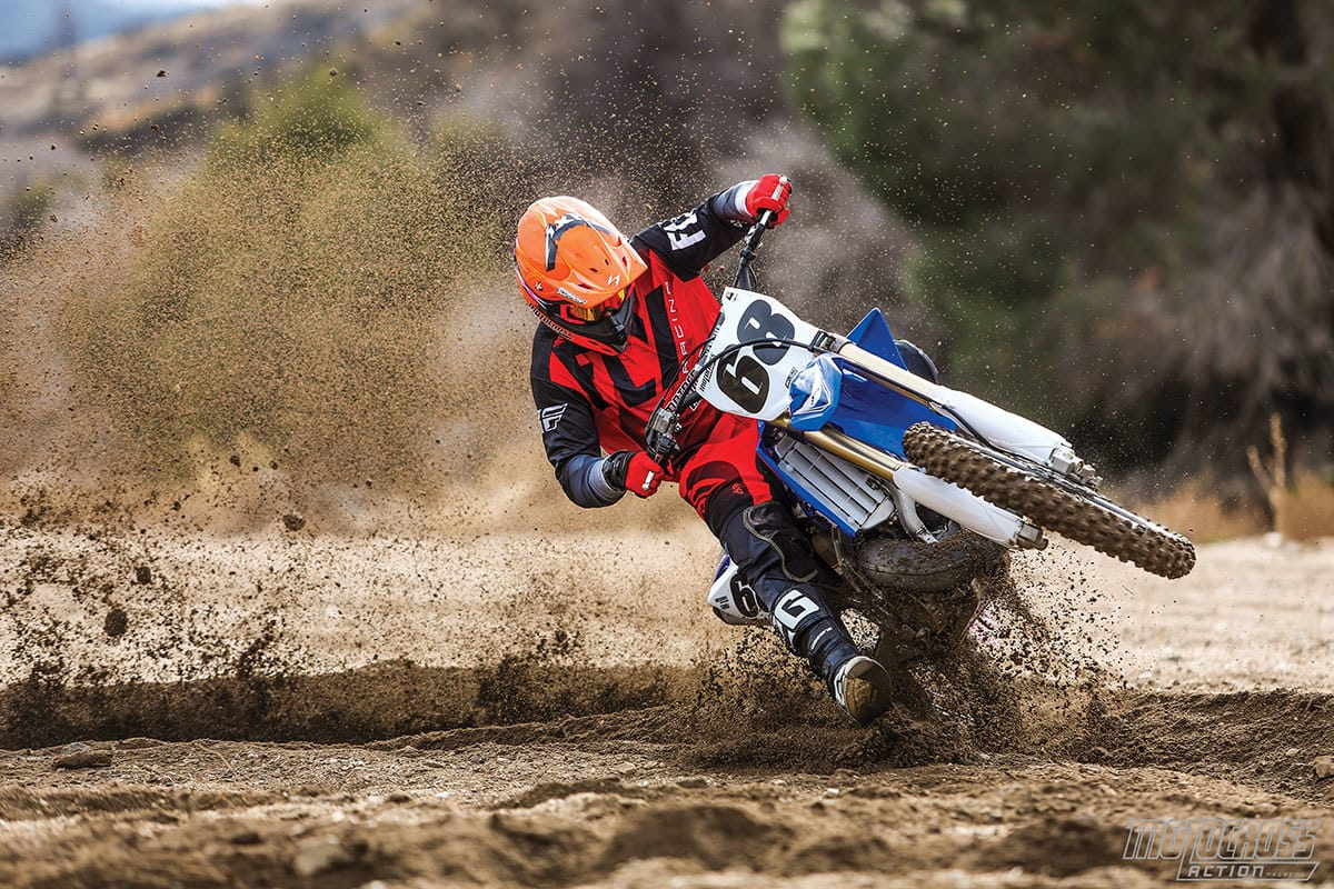 This is what the YZ250 two-stroke does best. You can fling it around a racetrack, wheelie out of corners and slide the rear end like Mert Lawwill.